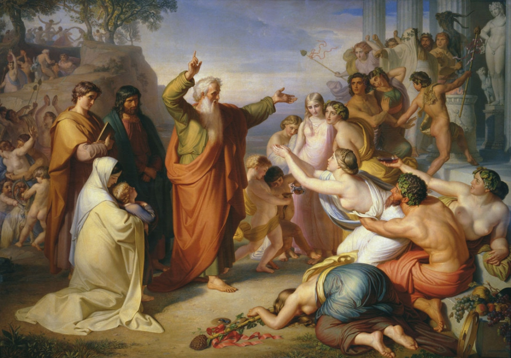 Апостол Иоанн Богослов, проповедующий на острове Патмос во время вакханалий (Ф.Моллер.1856)