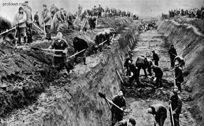 Москвичи учавствуют в строительстве оборонительных сооружений