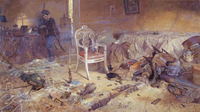 В доме Ипатьева после расстрела царской семьи
