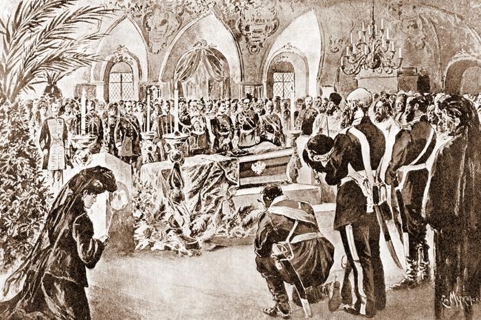 Панихида Великому Князю Сергею Александровичу в Чудовом монастыре, в Кремле, в 1905 г.
