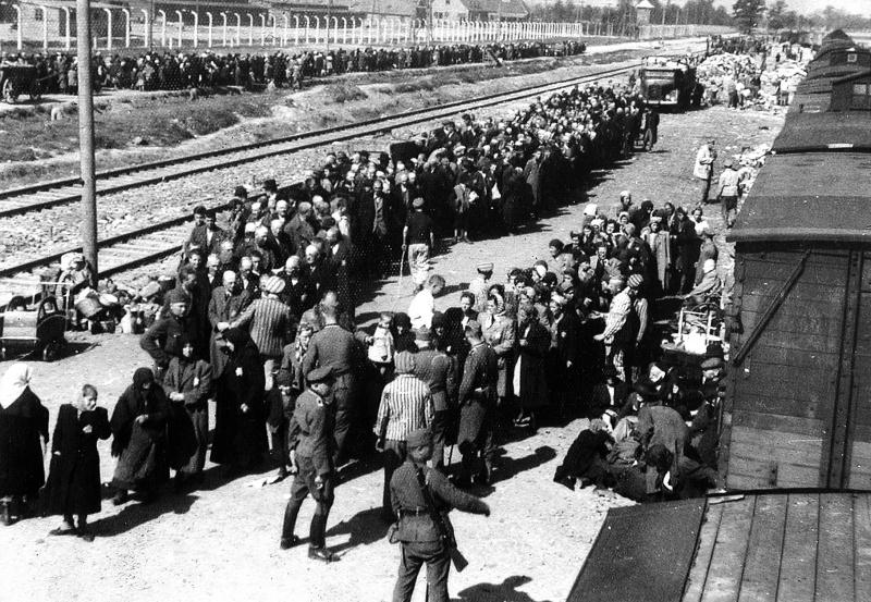 Прибытие заключенных в концлагерь Освенцим. Формирование колонн заключенных