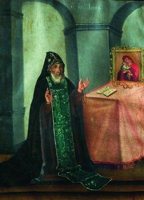 Прп. Иов Почаевский в молении перед Почаевской иконой Божией Матери