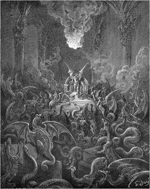 Сатана и собрание демонов в Аду. Иллюстрация Гюстава Доре