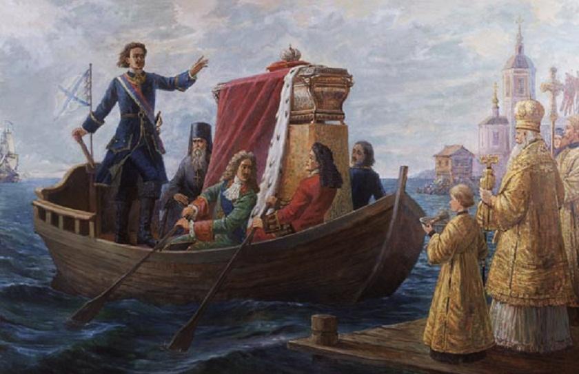 Перенесение мощей святого князя Александра Невского императором Петром I в Петербург