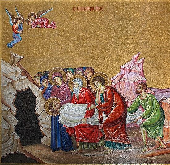 Положение во гроб. Мозаика храма Воскресения Христова в Иерусалиме. Фото: А.Поспелов / Православие.Ru
