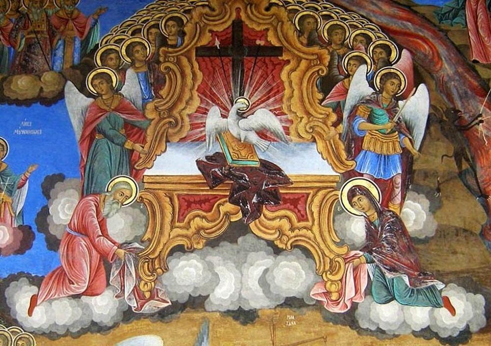 Фреска. Святой Дух на престоле. Рильский монастырь