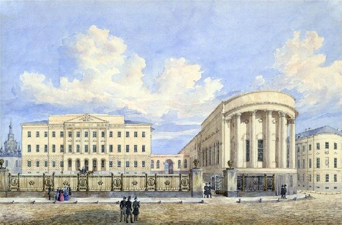 Новое здание Московского университета на Моховой с церковью св. Татьяны